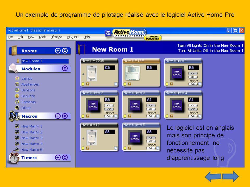 Un exemple de programme de pilotage réalisé avec le logiciel Active Home Pro