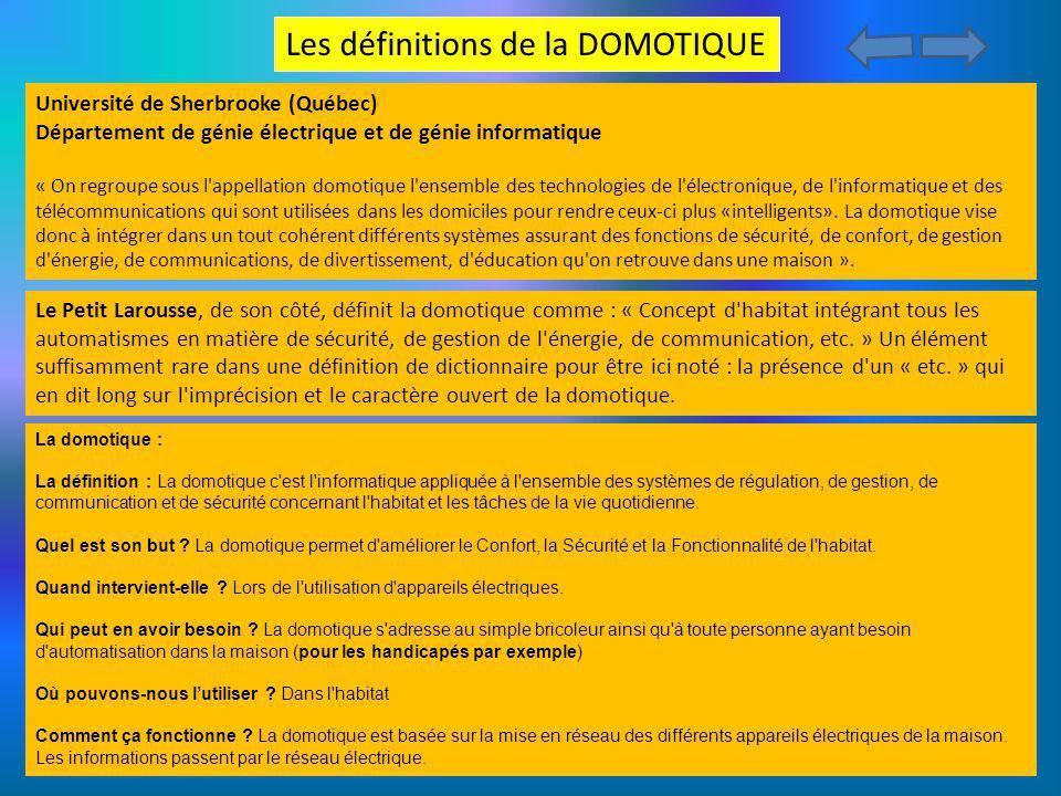 Les définitions de la DOMOTIQUE