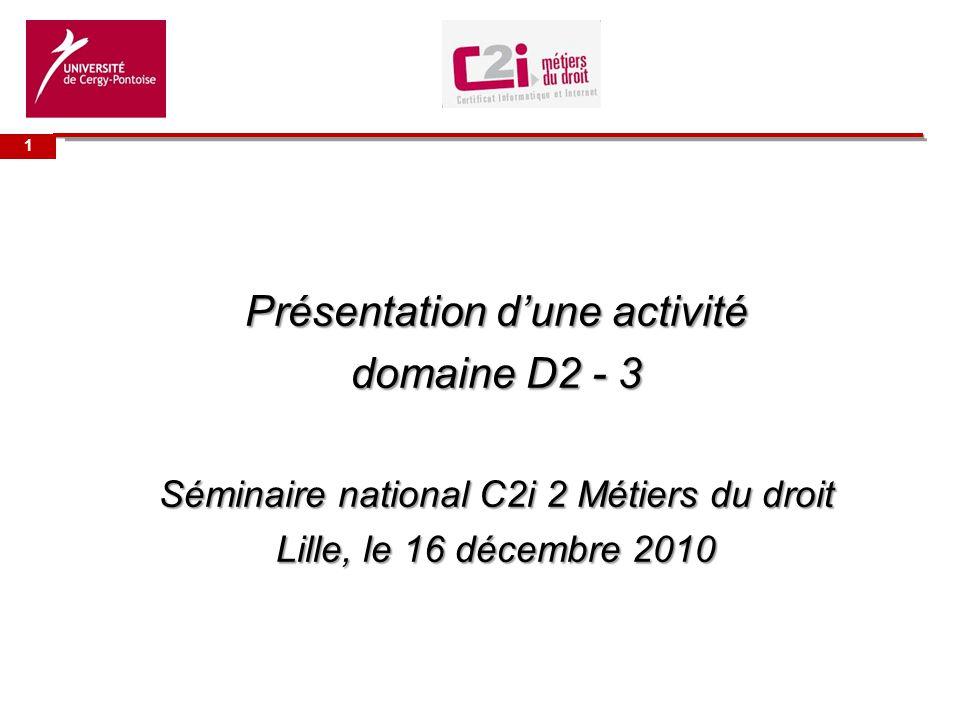 Présentation d'une activité domaine D2 - 3
