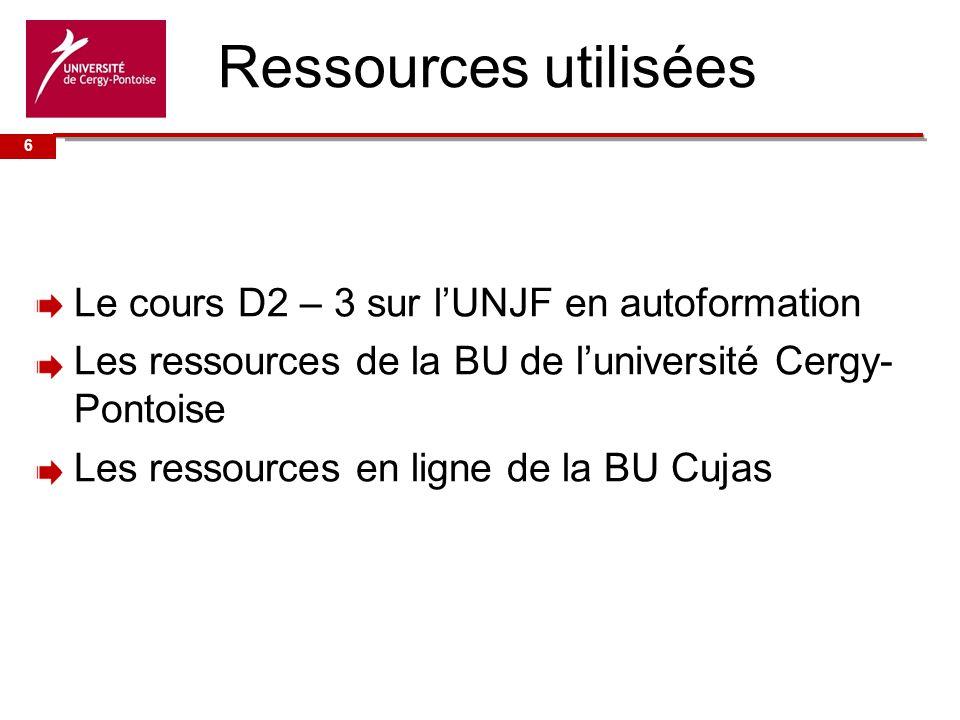Ressources utilisées 6.