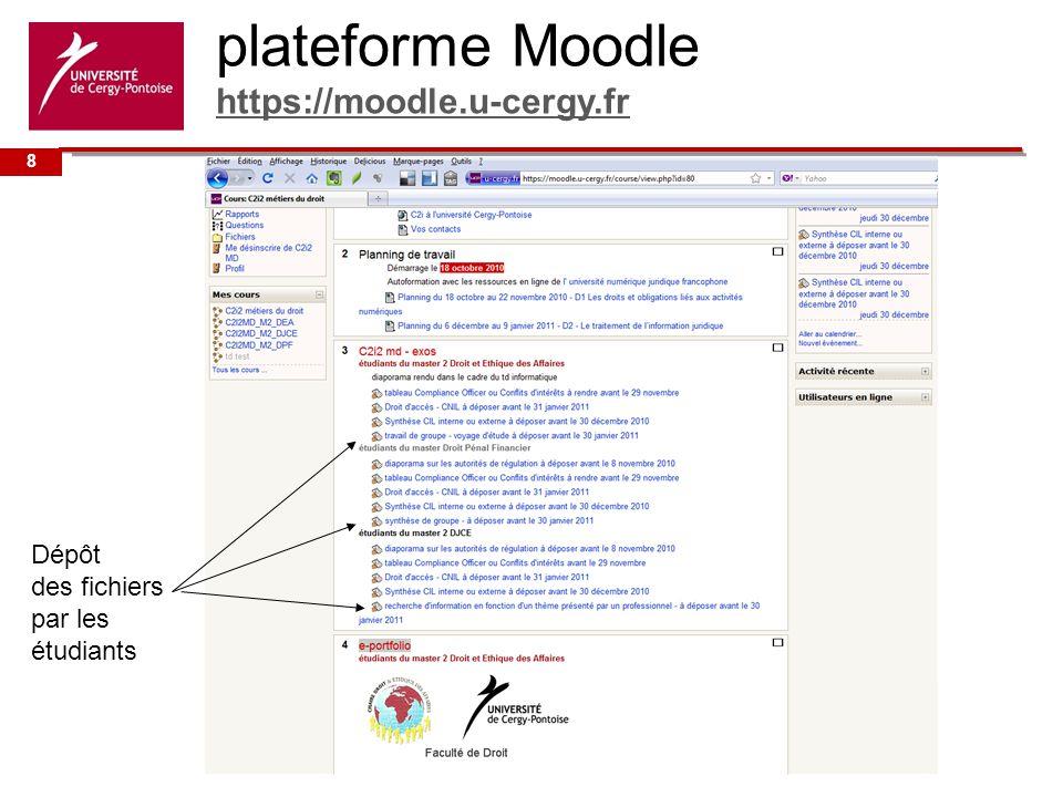 plateforme Moodle https://moodle.u-cergy.fr