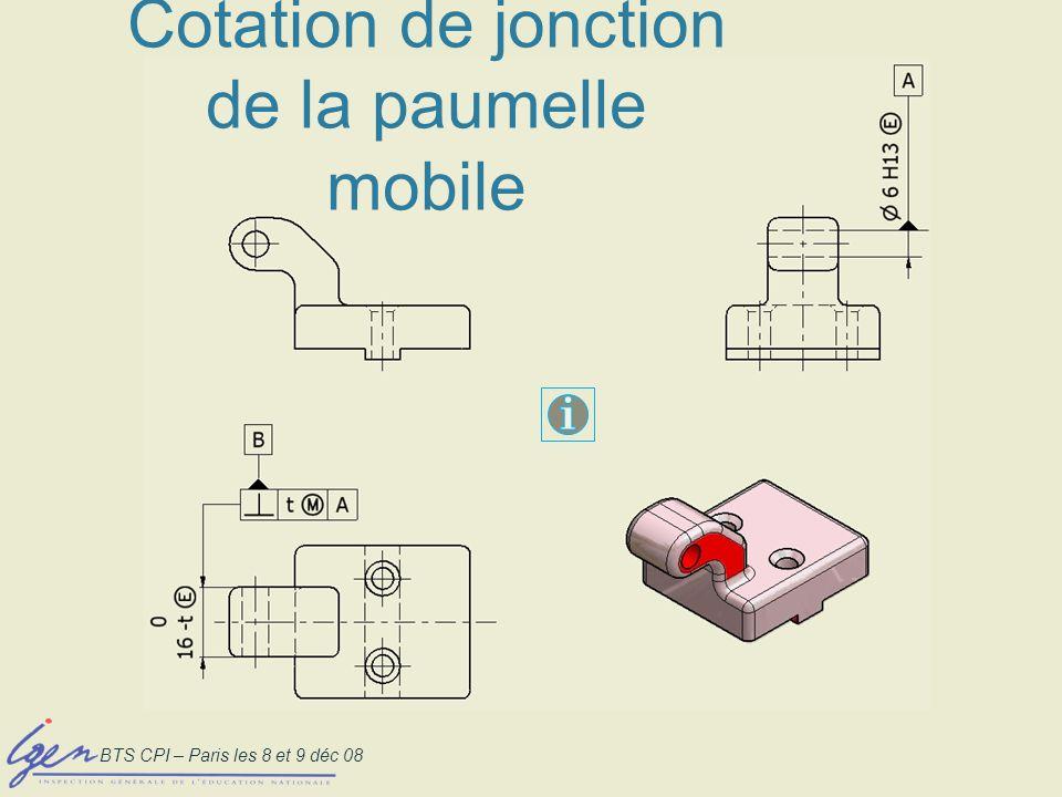 Cotation de jonction de la paumelle mobile