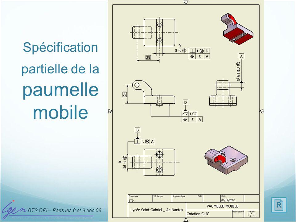 Spécification partielle de la paumelle mobile
