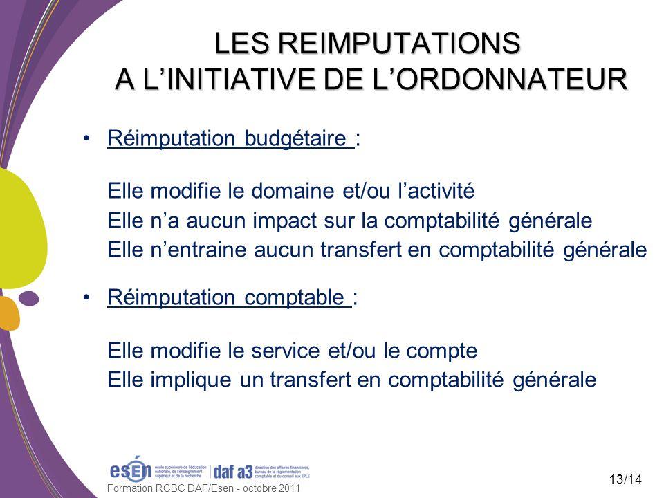 LES REIMPUTATIONS A L'INITIATIVE DE L'ORDONNATEUR