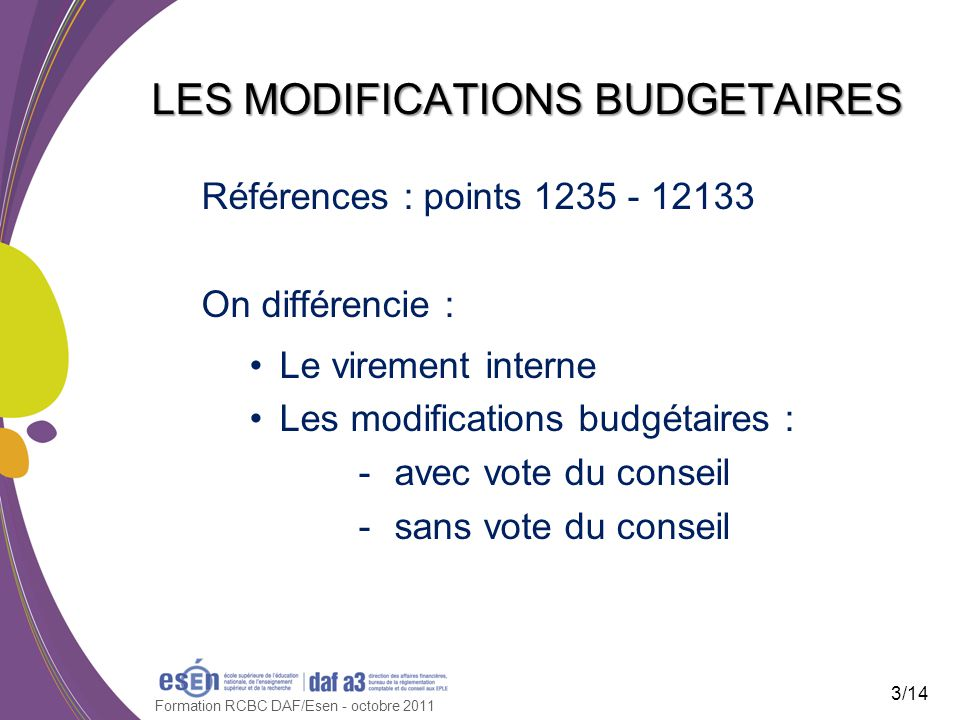 LES MODIFICATIONS BUDGETAIRES