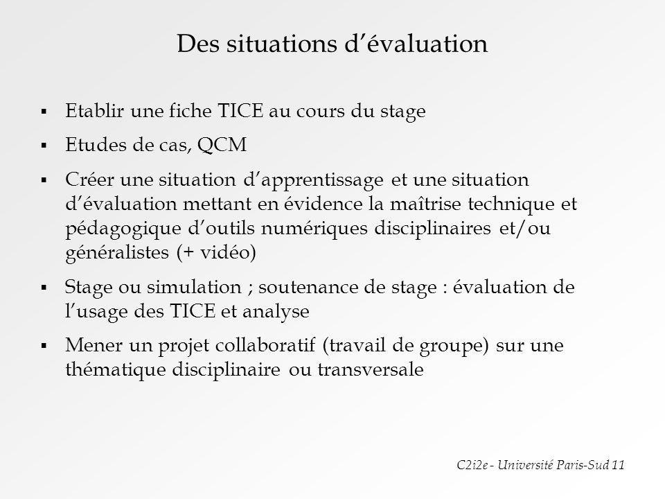 Des situations d'évaluation