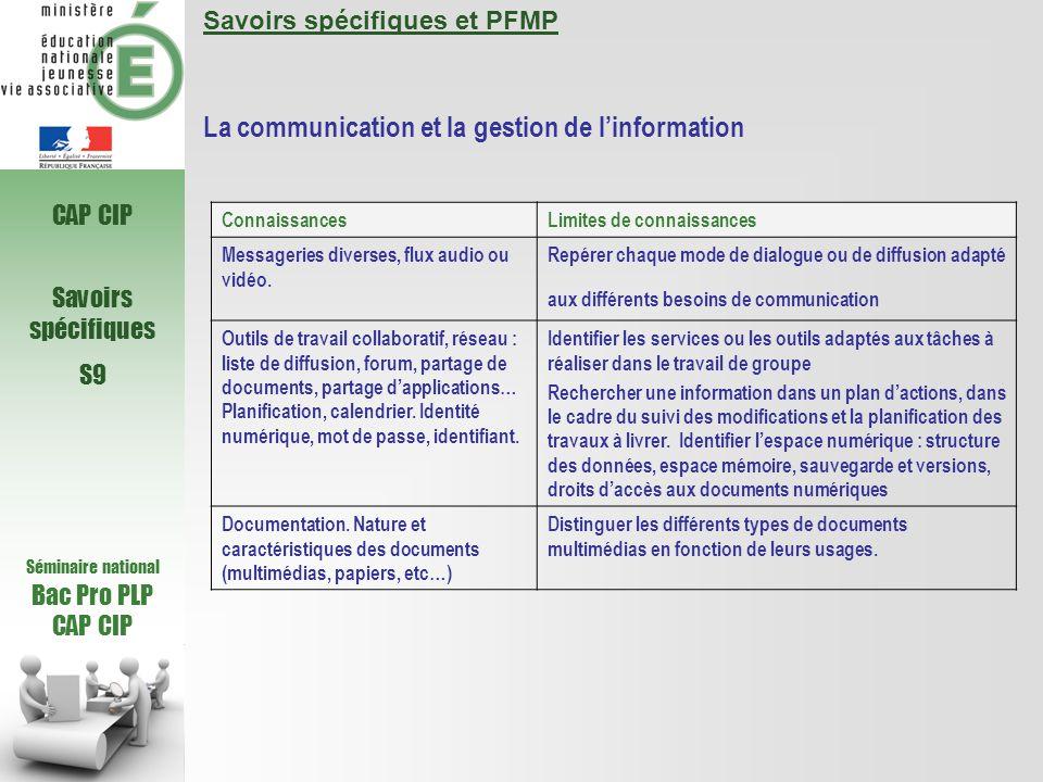 La communication et la gestion de l'information