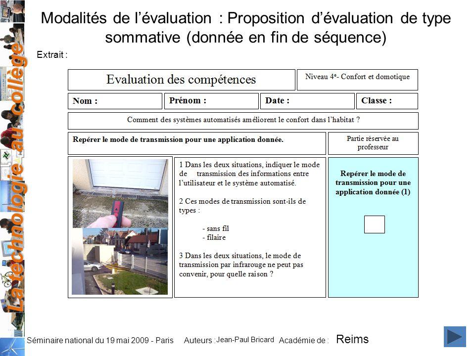 Modalités de l'évaluation : Proposition d'évaluation de type sommative (donnée en fin de séquence)