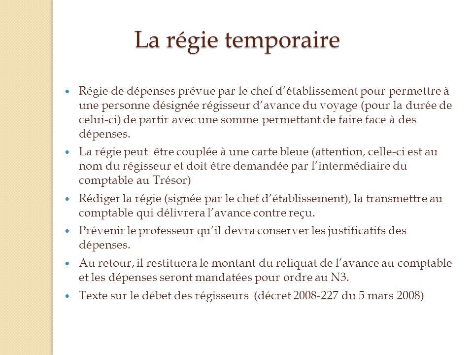 La régie temporaire