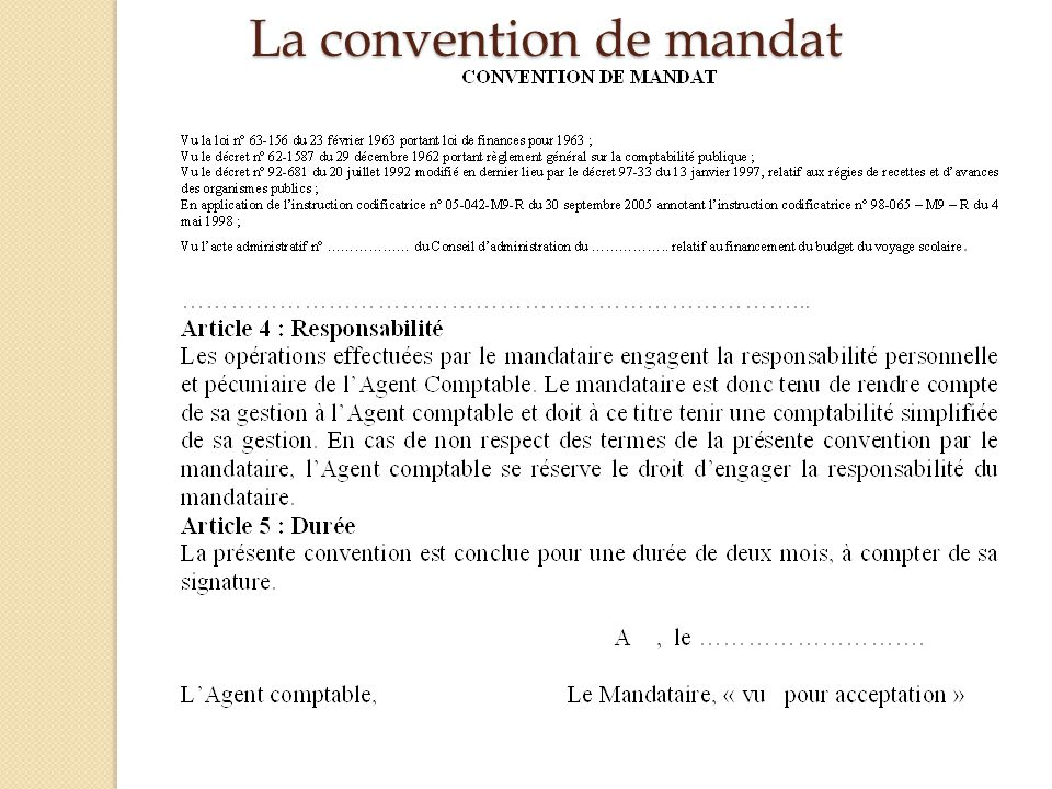 La convention de mandat