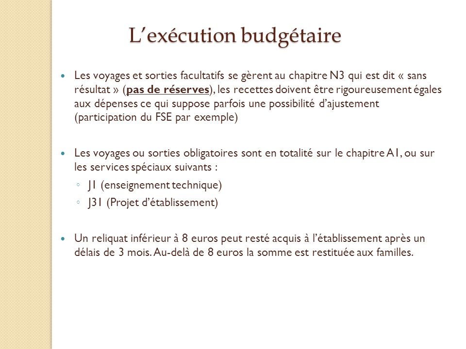 L'exécution budgétaire