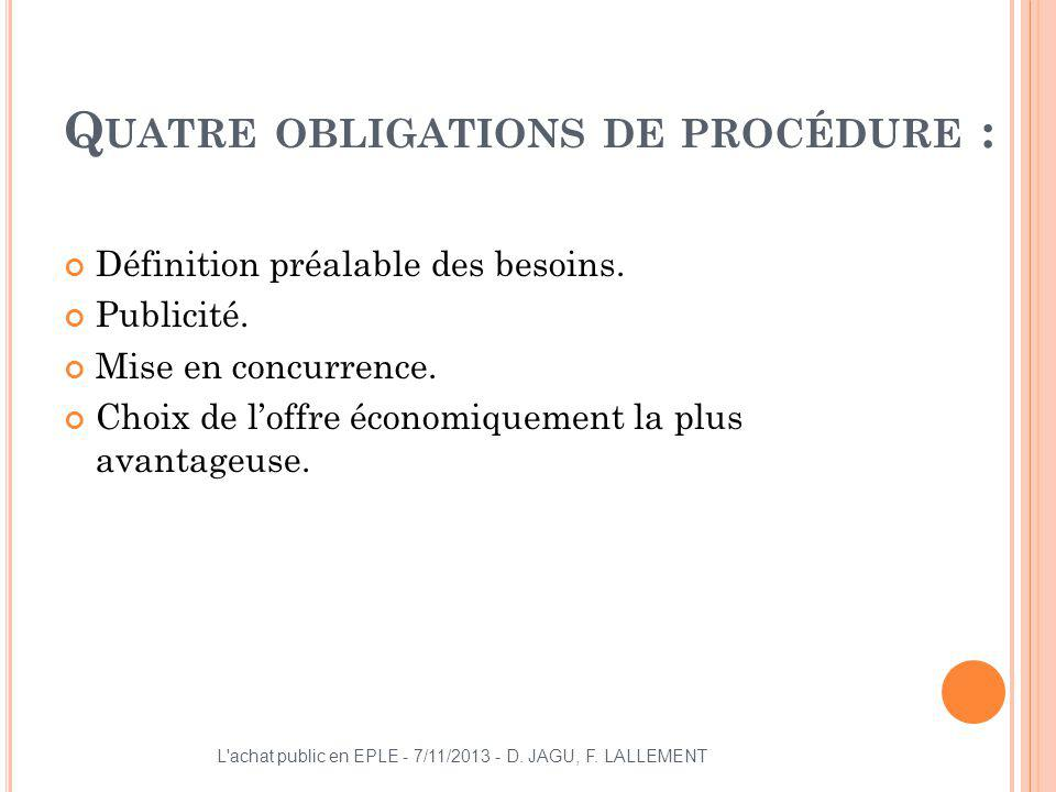 Quatre obligations de procédure :