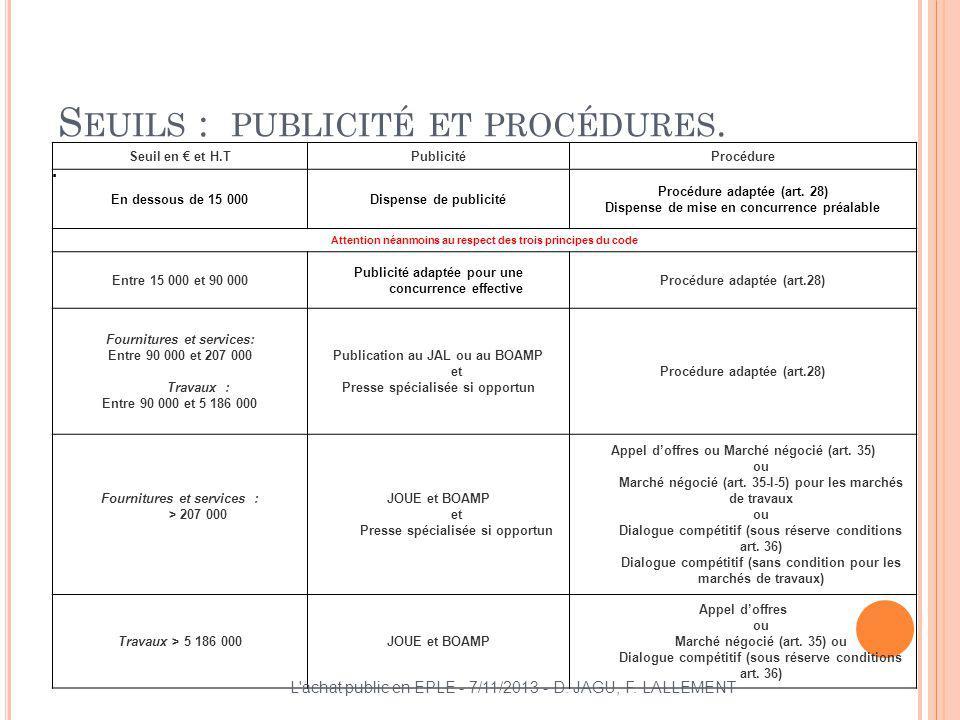 Seuils : publicité et procédures.