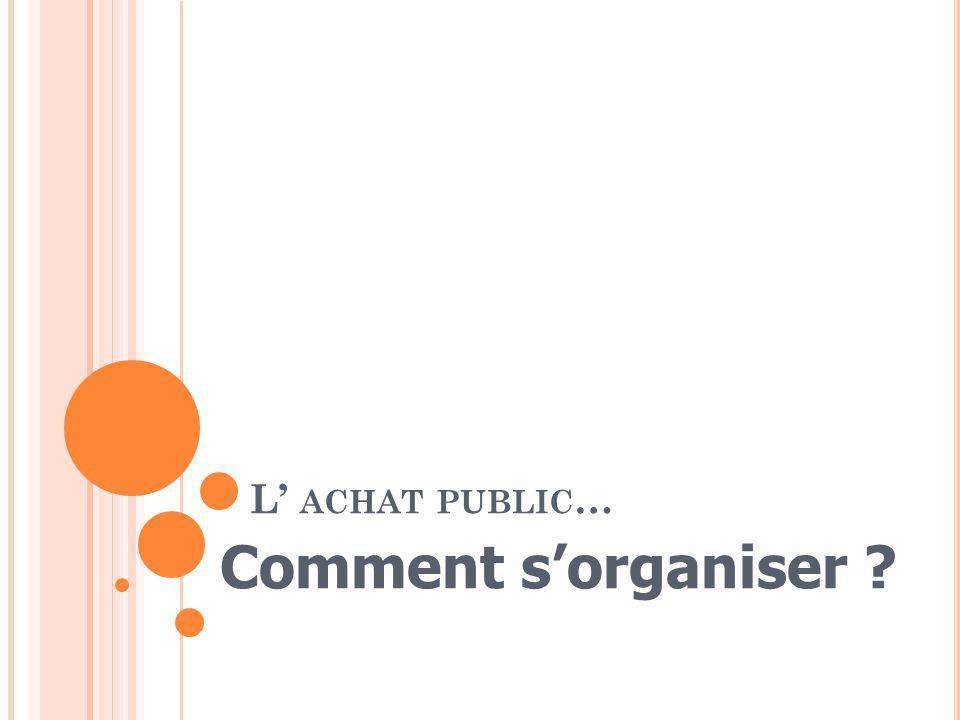 L' achat public… Comment s'organiser