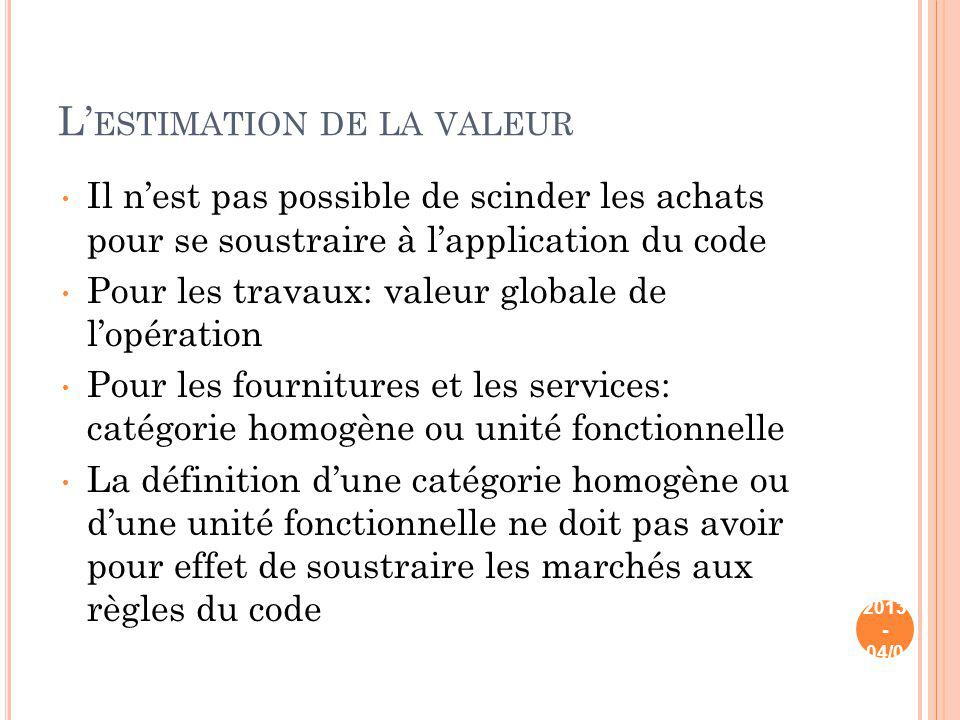 L'estimation de la valeur