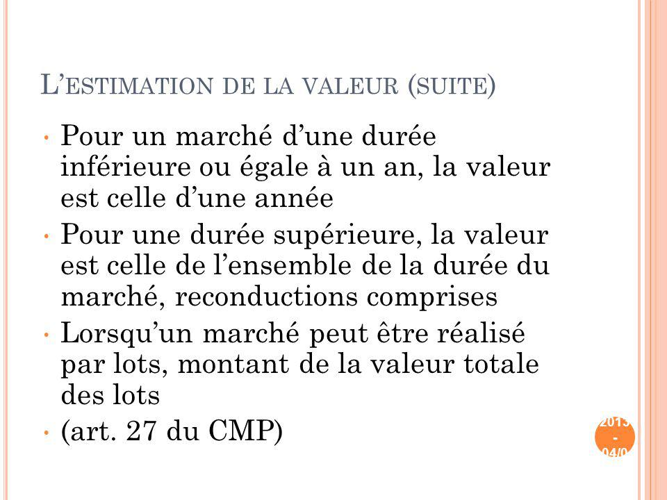 L'estimation de la valeur (suite)