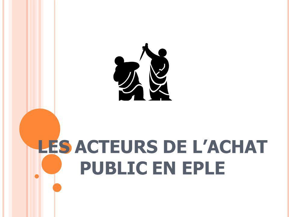 LES ACTEURS DE L'ACHAT PUBLIC EN EPLE