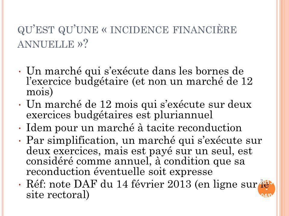 qu'est qu'une « incidence financière annuelle »