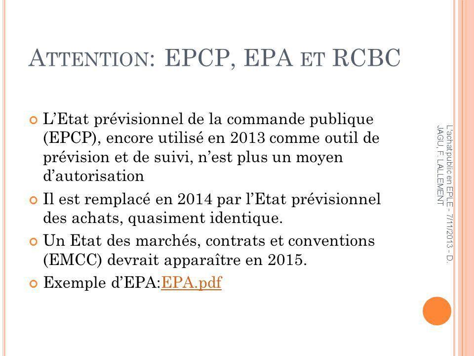 Attention: EPCP, EPA et RCBC