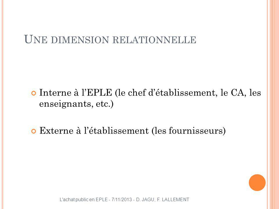 Une dimension relationnelle