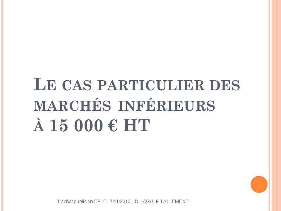 Le cas particulier des marchés inférieurs à 15 000 € HT