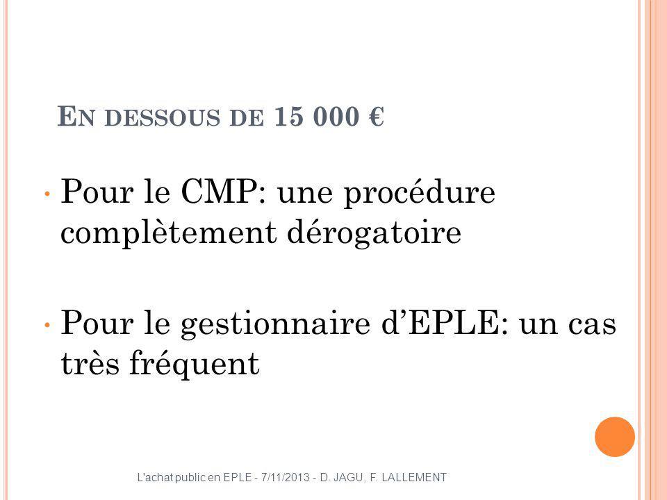 Pour le CMP: une procédure complètement dérogatoire