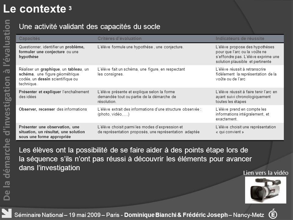 Le contexte 3 De la démarche d investigation à l'évaluation