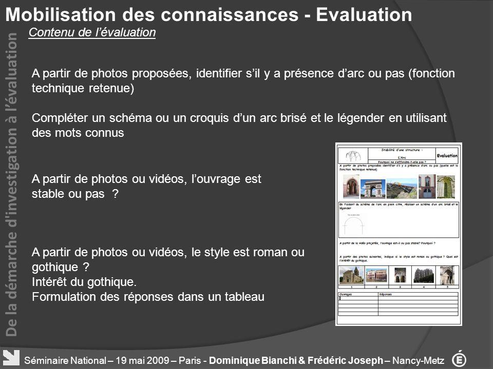 Mobilisation des connaissances - Evaluation