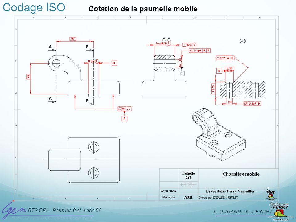 Codage ISO Cotation de la paumelle mobile