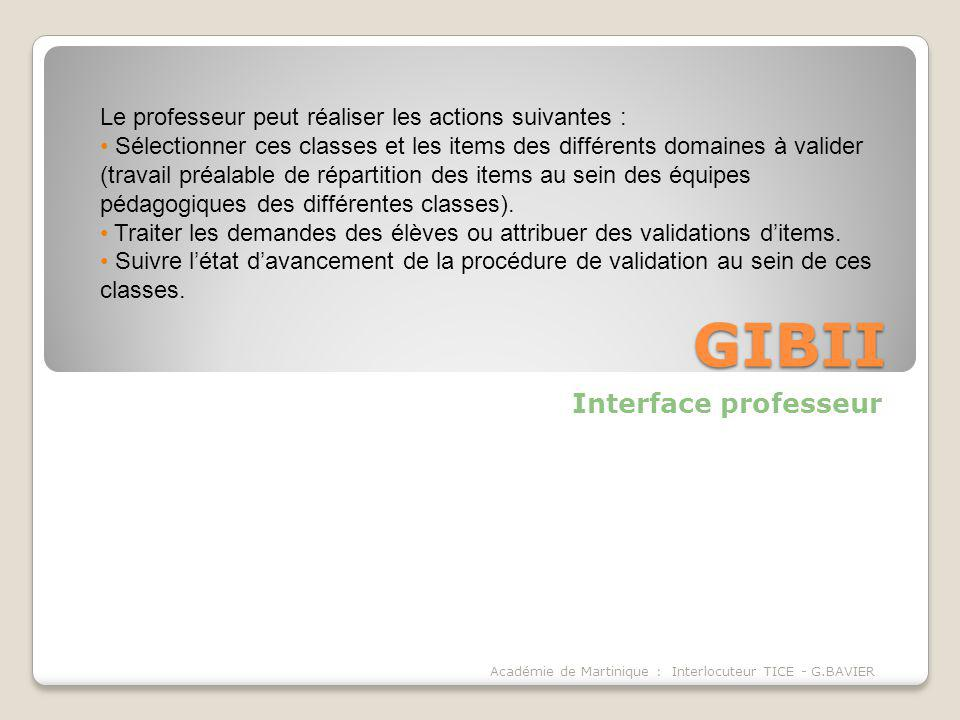 GIBII Interface professeur