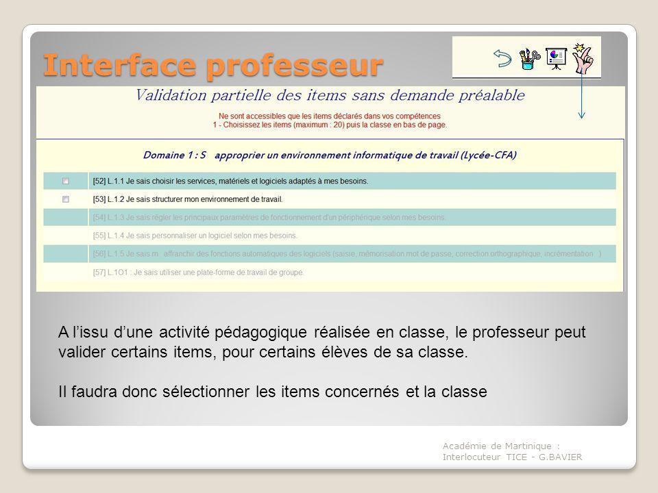 Interface professeur