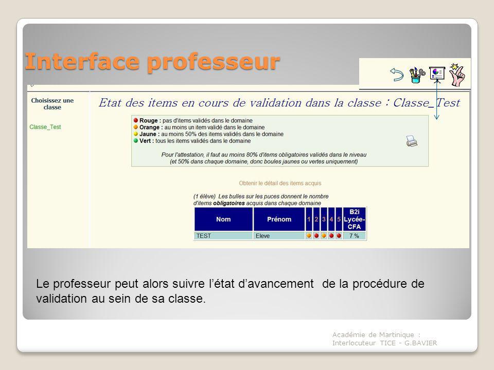 Interface professeur Le professeur peut alors suivre l'état d'avancement de la procédure de validation au sein de sa classe.