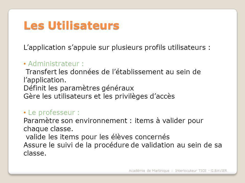 Les Utilisateurs L'application s'appuie sur plusieurs profils utilisateurs : Administrateur :