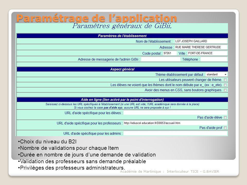 Paramétrage de l'application