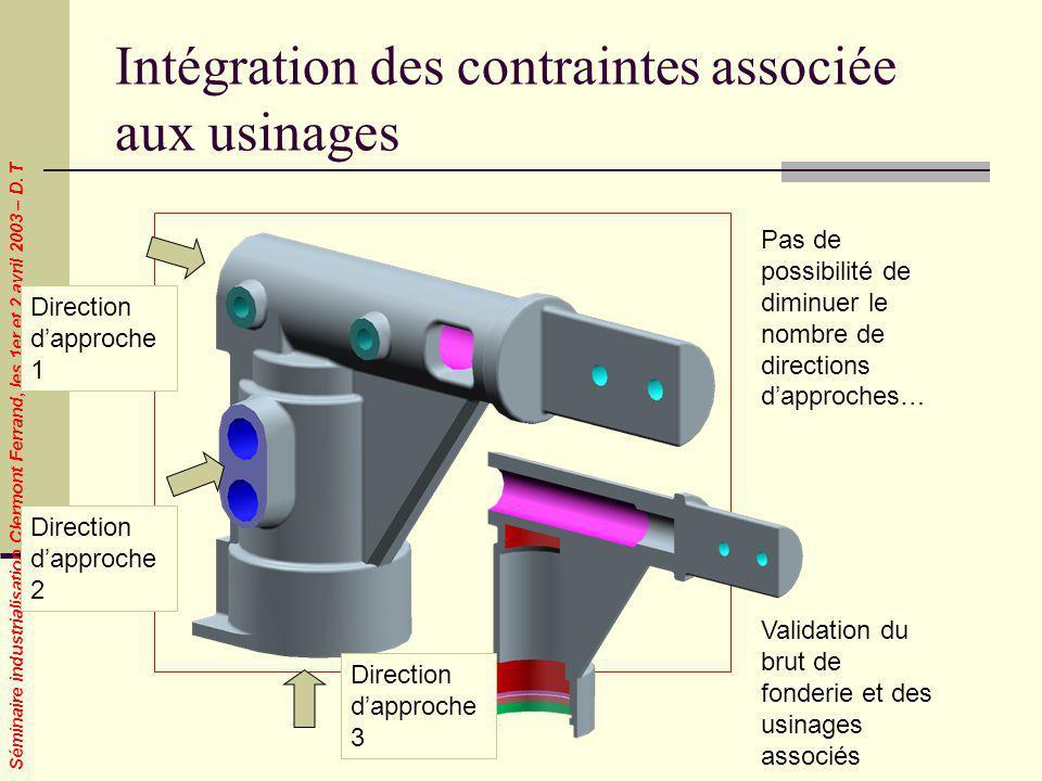 Intégration des contraintes associée aux usinages