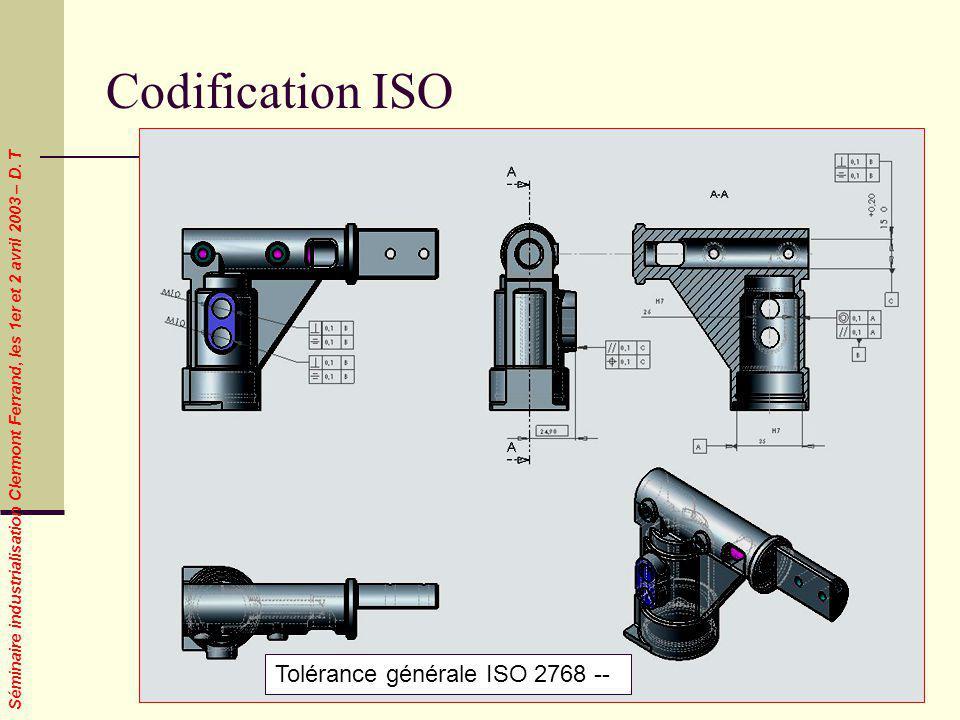 Codification ISO Tolérance générale ISO 2768 --