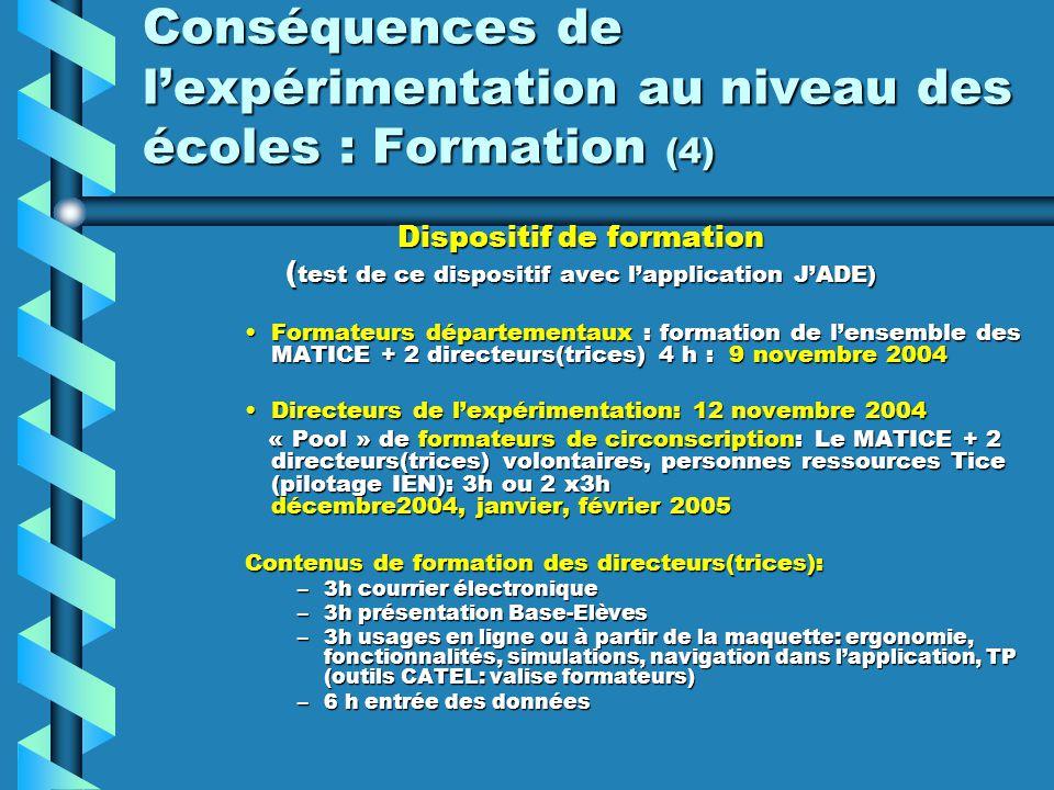 Conséquences de l'expérimentation au niveau des écoles : Formation (4)