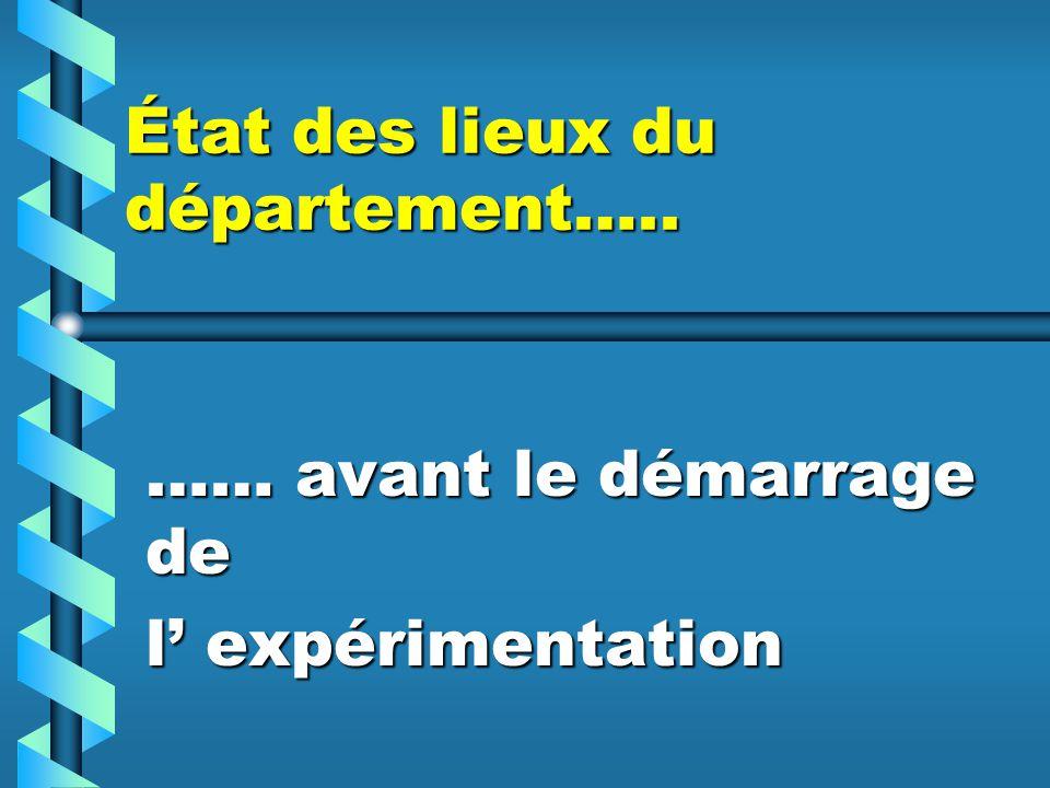 État des lieux du département…..