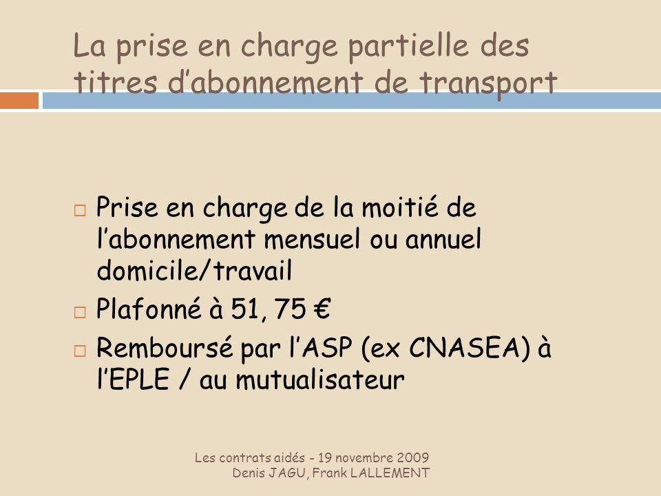 La prise en charge partielle des titres d'abonnement de transport