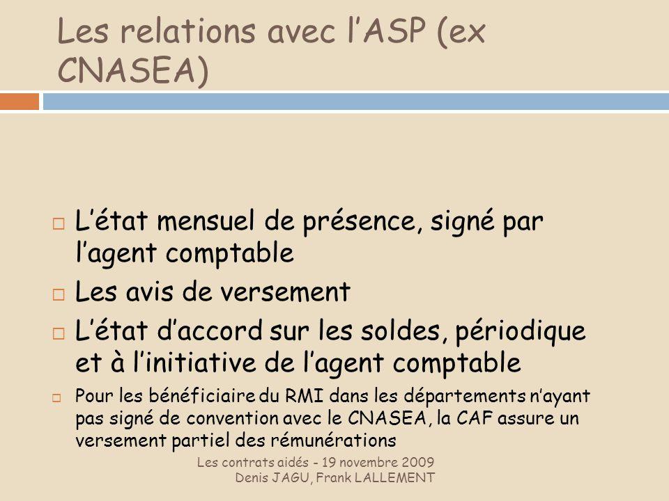 Les relations avec l'ASP (ex CNASEA)