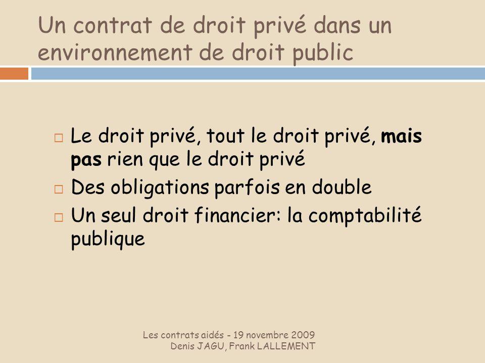 Un contrat de droit privé dans un environnement de droit public