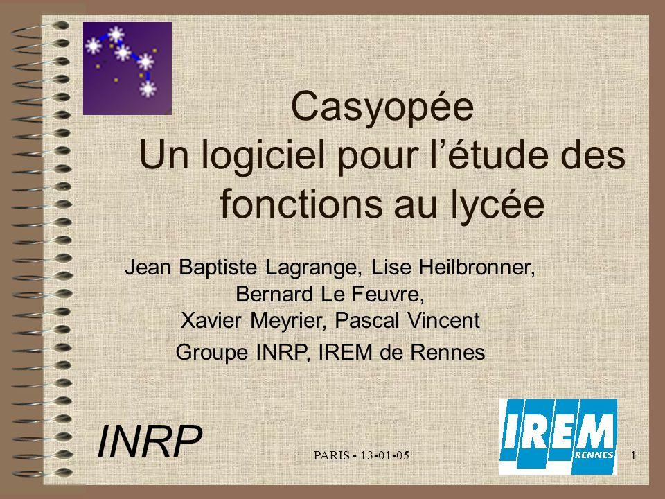 INRP Casyopée Un logiciel pour l'étude des fonctions au lycée