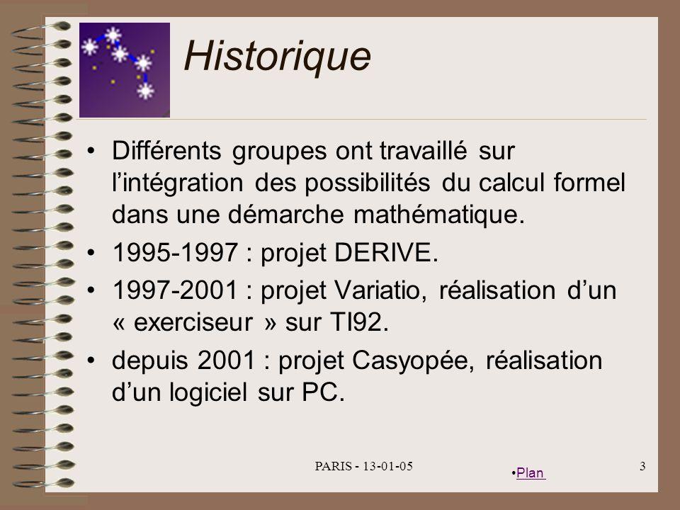 Historique Différents groupes ont travaillé sur l'intégration des possibilités du calcul formel dans une démarche mathématique.