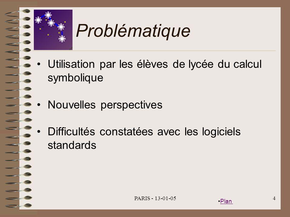 Problématique Utilisation par les élèves de lycée du calcul symbolique