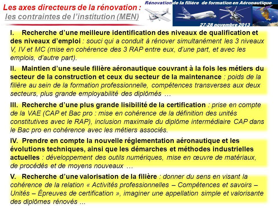 Les axes directeurs de la rénovation : les contraintes de l'institution (MEN)