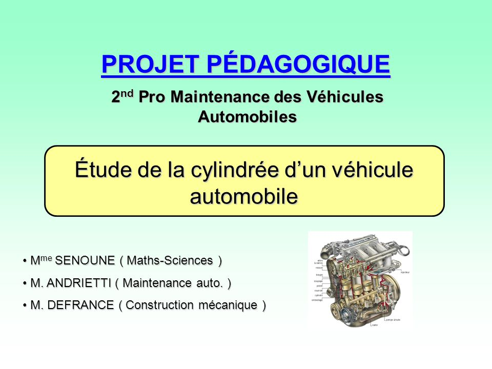 2nd Pro Maintenance des Véhicules Automobiles