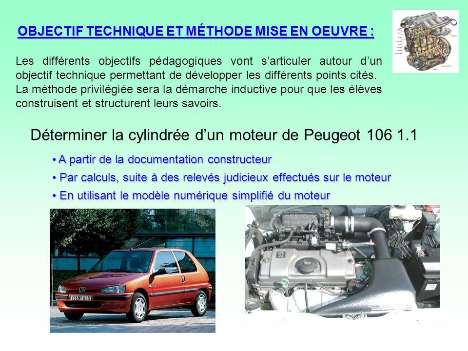 Déterminer la cylindrée d'un moteur de Peugeot 106 1.1