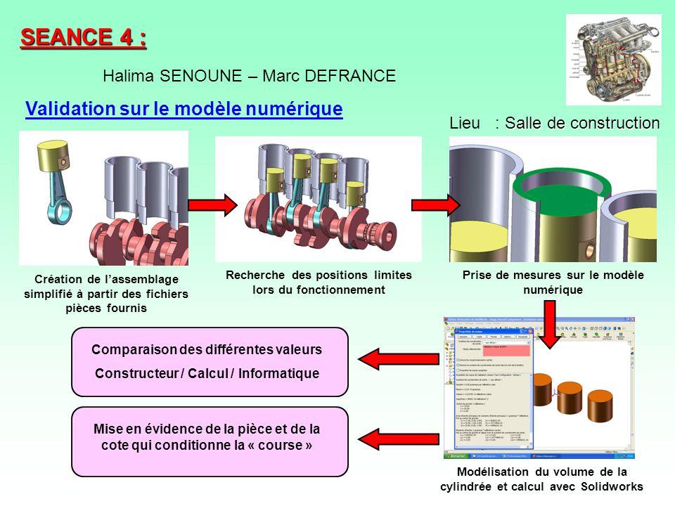 SEANCE 4 : Validation sur le modèle numérique