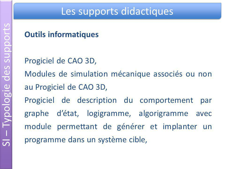 SI – Typologie des supports Les supports didactiques