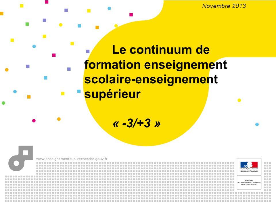 Novembre 2013 Le continuum de formation enseignement scolaire-enseignement supérieur « -3/+3 »